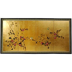 Silk and Wood 24-inch Cherry Blossom Wall Hanging (China)