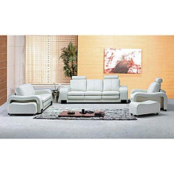 Oakland Modern White Leather Living Room Set