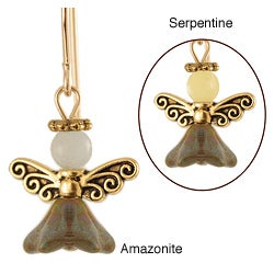 14k Gold Fill 'Peace on Earth' Serpentine or Amazonite Angel Earrings
