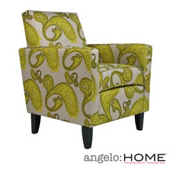 angelo:HOME Sutton Modern Lemongrass Paisley Arm Accent Chair