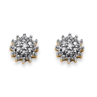 PalmBeach Diamond Accent Starburst Stud Earrings in 10k Gold
