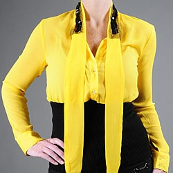 Kaelyn Max Women's Long Sleeve Tie Neck Blouse