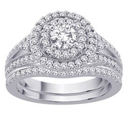 14k White Gold 1 1/4ct TDW Diamond Engagement Set (G-H, SI2-I1) (Size 6.75)