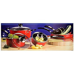 Oster Red Aluminum 8-piece Cookware Set