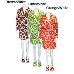 Women's Giraffe Short Robe with Matching Slippers Set