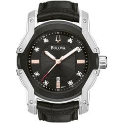 Bulova Men's Stainless Steel 8-diamond Dial Watch