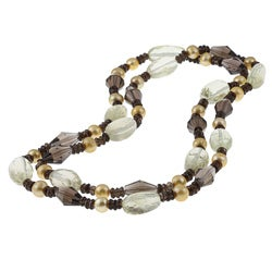 New York Pearls Champagne FW Pearl and Multi-gemstone Necklace (9-10 mm)