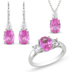 Sterling Silver Created Pink and White Sapphire Jewelry Set