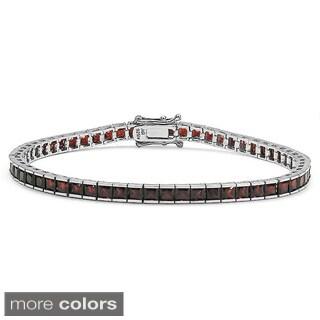 Malaika Sterling Silver Square-cut Gemstone Line Bracelet