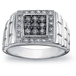 SilverMist Sterling Silver Men's 3/4ct TDW Natural Grey and White Diamond Ring (H-I, I1-I2)