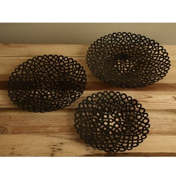 Set of 3 Iron Black Essence Bowls (India)
