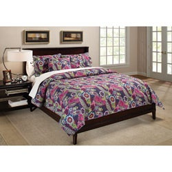 Colonial Floral Paisley Jewel Tone Quilt Set - Overstock™ Shopping ...