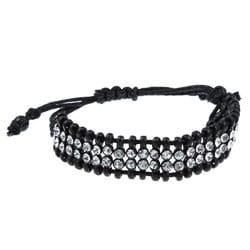 Celeste Gunmetal Clear Crystal 2-row Black Macrame Bracelet