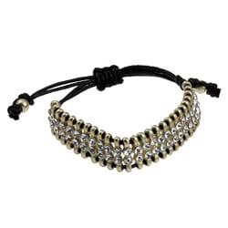 Celeste Goldtone Clear Crystal 2-row Macrame Bracelet