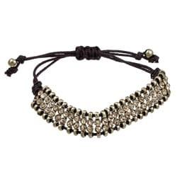 Celeste Goldtone Champagne Crystal Macrame 2-row Bracelet