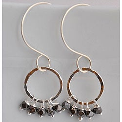 Silver and Black Goldplated Beaded Dangle Earrings