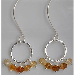 Silver and Citrine Dangle Earrings