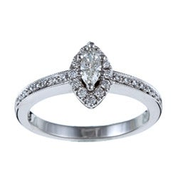 Victoria Kay 14k White Gold 2/5ct TDW Marquise Diamond Ring