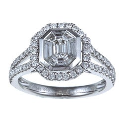 14k White Gold 1ct TDW Mosaic Diamond Split Shank Halo Ring (H-I, SI1)