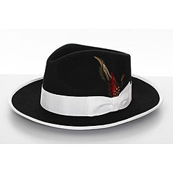 Men's Black Wool Felt Feather Fedora