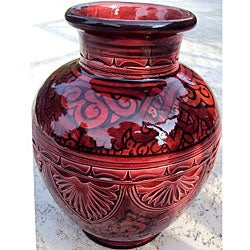 Ceramic Engraved Chili Vase (Morocco)