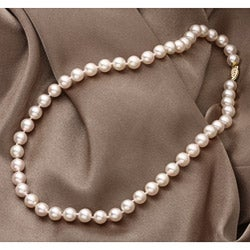 New York Pearls 14k Yellow Gold New York Pearls Champagne Akoya Pearl Necklace (8-8.5 mm)