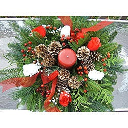 Fresh Balsam Rose Holiday Centerpiece