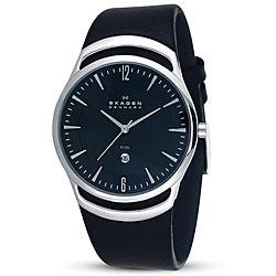 Skagen Men's Black Leather Dress Watch