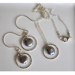 Silver and Peacock Pearl Circle Necklace and Earring Set