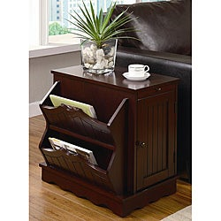 Harvard Cherry-finish Side Table Magazine Rack