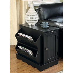Tawny Black Side Table Magazine Rack