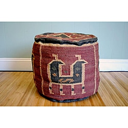 Handmade Kilim Round Puff Footstool (India)