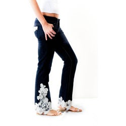 Blue Jeans with White Lace Trim