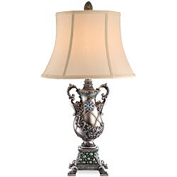 Amphora Antique Silver Aquamarine Table Lamp (Set of 2)