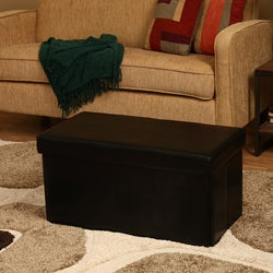 'Kirstina' Black Faux Leather Storage Ottomans (Set of 2)