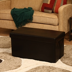 'Kirstina' Brown Faux Leather Storage Ottoman (Set of 2)