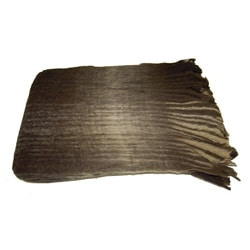 Mohair Blend Chocolate Brown Checkered Throw (India)
