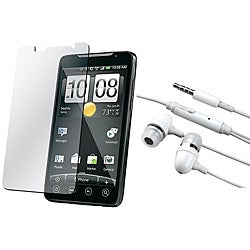 White 3.5 mm In-ear Headset with Screen Protector for HTC EVO 4G