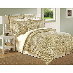 Isabella Clarke 300 Thread Count Cafe/ Ivory Cheetah Print 8-piece Comforter Set 