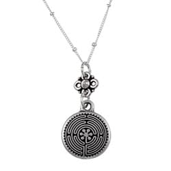 Charming Life Sterling Silver Sacred Labyrinth Charm Necklace