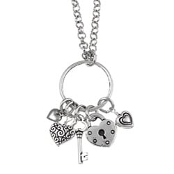 Charming Life Pewter Grateful Hearts Charm Necklace