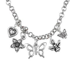 Charming Life Silvertone Garden Party Charm Necklace
