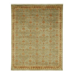 Hand-knotted Kenton Green Oriental Wool Rug (10' x 14')