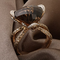 Miadora 14k Gold Smoky Quartz and 1 1/2ct TDW Diamond Ring (G-H, SI1-SI2)
