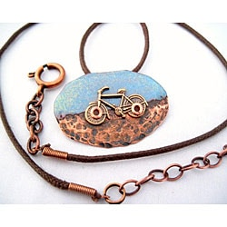 My Three Metals Copper Half-enameled, Half-hammered Bike Necklace