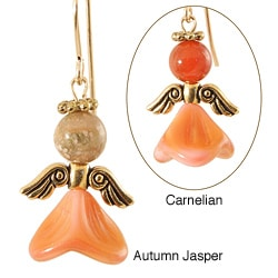 Gold Fill 'Calmness in Shades of Coral Pink' Angel Earrings