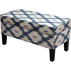 Jenny Santa Fe Blue Upholstered Storage Bench