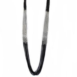 West Coast Jewelry Silvertone and Black Multi-layer Chain Necklace