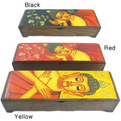 Hand Painted Buddha Face Long Box (Thailand)