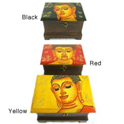 Hand Painted Buddha Face Single Lock Box (Thailand)